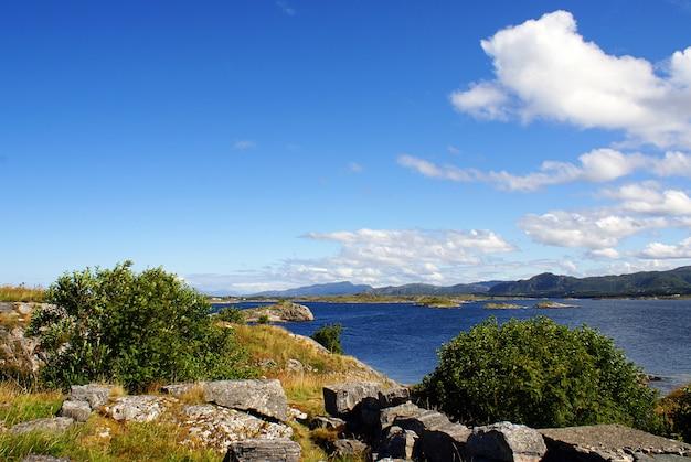 Bela paisagem de um lago cercado por uma vegetação norueguesa de tirar o fôlego na noruega Foto gratuita