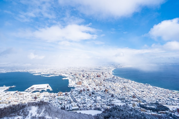 Bela paisagem e paisagem urbana da montanha hakodate para olhar ao redor do horizonte da cidade Foto gratuita