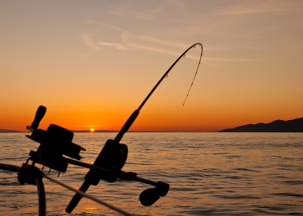 Bela paisagem por do sol com uma vara de pescar Foto gratuita