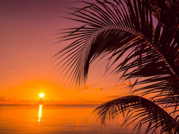 Bela praia tropical mar e oceano com palmeira de coco na hora do nascer do sol Foto gratuita