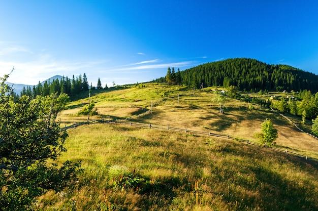 Bela vista da vila nas montanhas dos cárpatos ucranianos. Foto gratuita