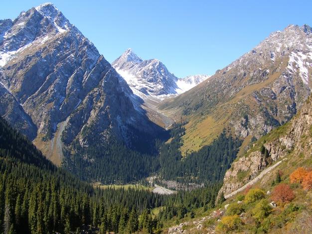 Bela vista nas montanhas tien-shan em setembro Foto Premium
