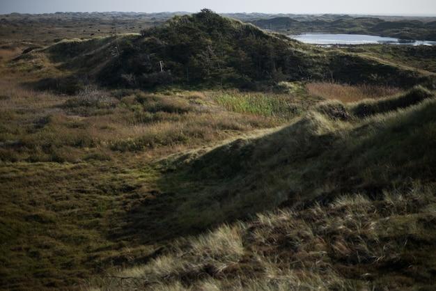 Belas paisagens das colinas no meio de um campo sob o céu azul Foto gratuita