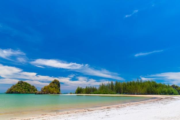 Belas praias de areia e vista para o pinheiro em paradise islandin krabi tailândia Foto Premium