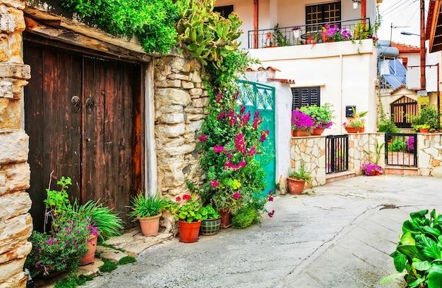 Belas ruas floridas de vilas tradicionais da ilha de chipre Foto Premium