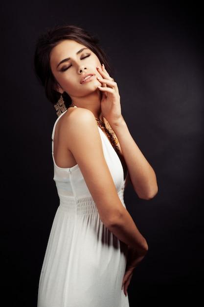 Beleza moda glamour girl portrait. Foto Premium