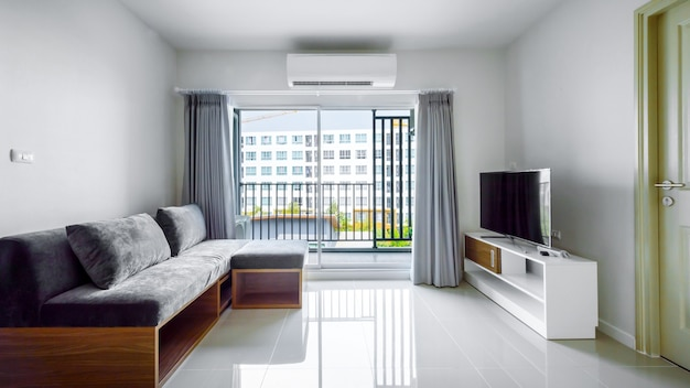 Belo apartamento moderno interior, sala de estar contemporânea Foto Premium
