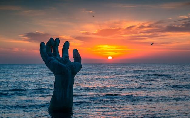 Belo nascer do sol na praia homigot, pohang, coréia do sul, Foto Premium