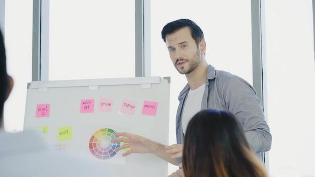 Bem sucedido homem de negócios criativo asiático inteligente bonito apresentar trabalho criativo ao seu colega Foto gratuita