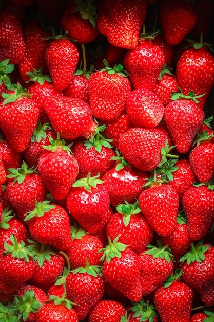 Berrie vermelho suculento maduro de morango Foto Premium