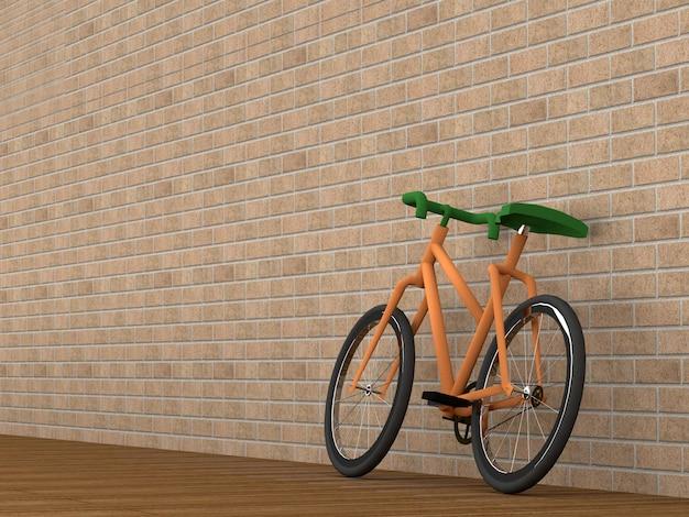 Bicicleta no quarto, renderização em 3d Foto Premium