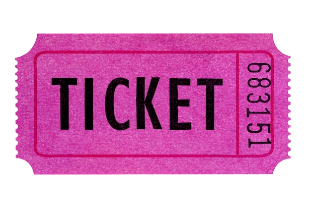 Bilhete roxo ou cor-de-rosa isolado no branco. Foto gratuita