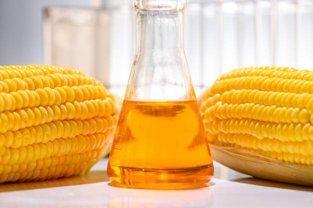 Biocombustível a partir de milho, óleo e solução de biocombustível. Foto Premium