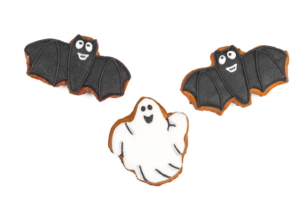 Biscoito de gengibre de halloween isolado no branco Foto Premium