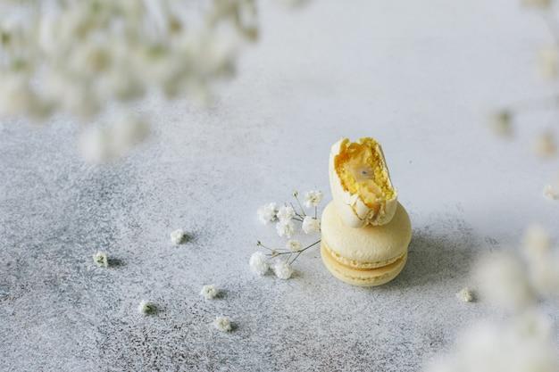 Biscoitos de amêndoa com sabor a limão em um fundo simples Foto Premium