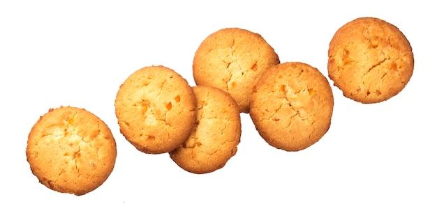 Biscoitos de aveia, isolados no fundo branco Foto Premium