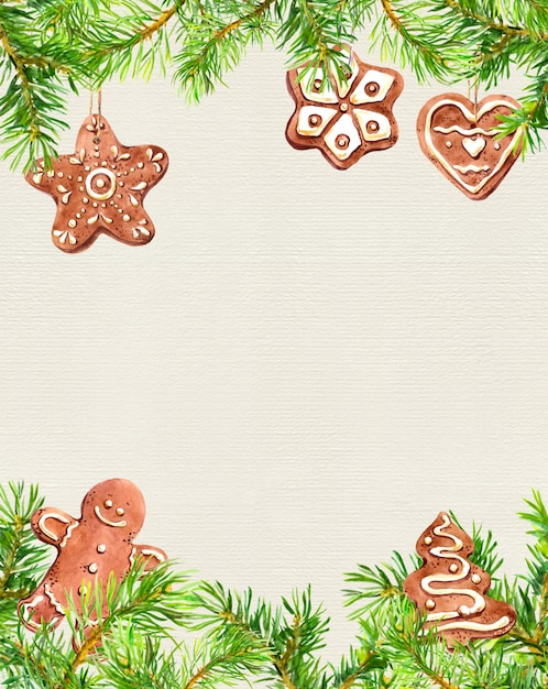 Biscoitos de natal, homem ruivo, quadro de galhos de árvores coníferas. cartão de natal. aguarela Foto Premium