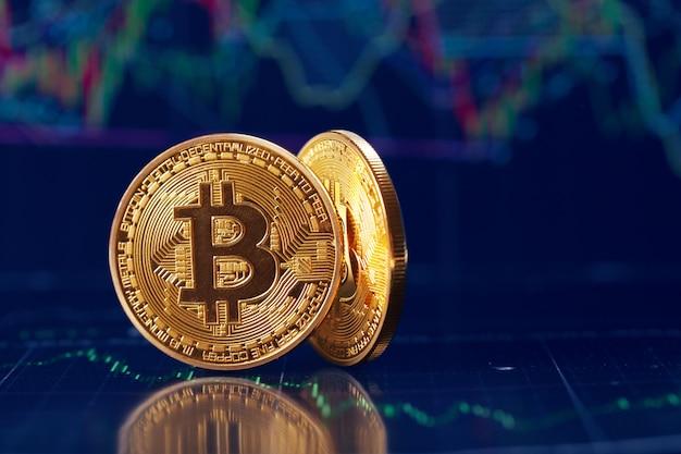 Bitcoin e gráfico Foto Premium