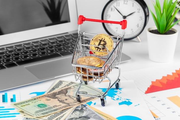 Bitcoin, gráfico e dólar americano. negociação financeira Foto Premium