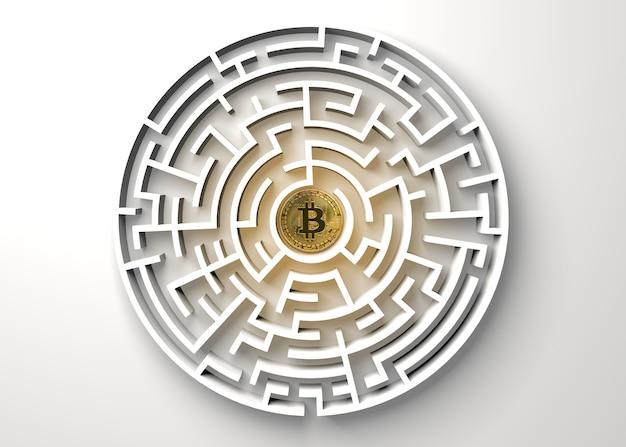 Bitcoin no ponto central do labirinto vista de cima. Foto Premium
