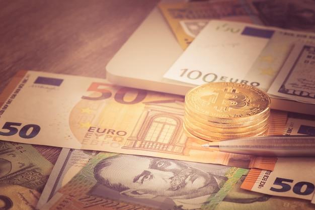 Bitcoin novo dinheiro virtual com euro Foto Premium