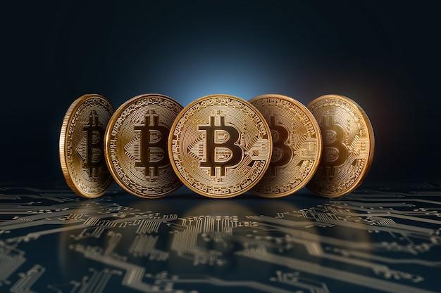 Bitcoins. dinheiro eletrônico, moeda criptografada. Foto Premium