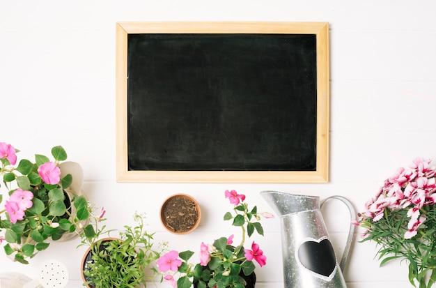 Blackboard com vasos e regador Foto gratuita