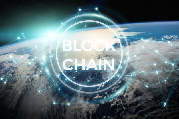 Blockchain na renderização 3d do planeta terra Foto Premium