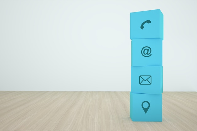 Bloco de cubo azul, empilhamento com contato ícone organizando em uma linha na madeira Foto Premium