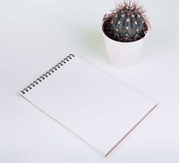 Bloco de notas espiral em branco perto do balde de cactos em fundo branco Foto gratuita
