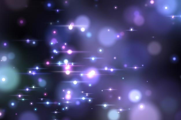 Bokeh de incandescência azul abstrato isolado no fundo preto Foto Premium