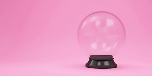 Bola de cristal no fundo rosa do estúdio Foto Premium