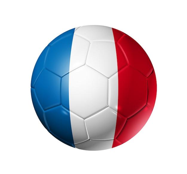 Bola de futebol 3d com bandeira da equipe de frança Foto Premium