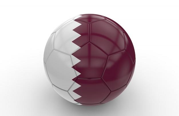 Bola de futebol com bandeira do qatar; renderização em 3d Foto Premium