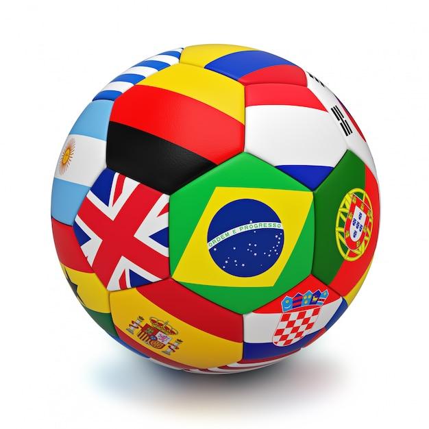 Bola de futebol com bandeiras de países do mundo isoladas Foto Premium