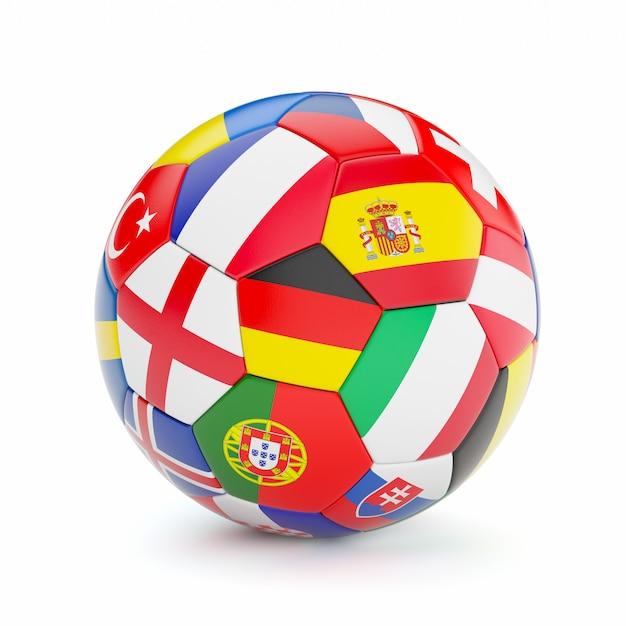 Bola de futebol com bandeiras do país europa Foto Premium