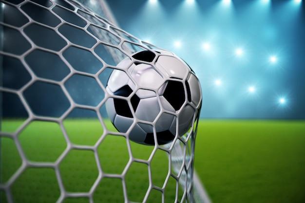 Bola de futebol de renderização 3d no gol. bola de futebol na rede com projetor e fundo claro do estádio, conceito do sucesso. bola de futebol em fundo azul com grama. Foto Premium