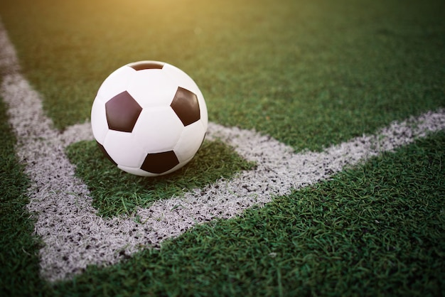 Bola de futebol na linha branca no estádio Foto gratuita