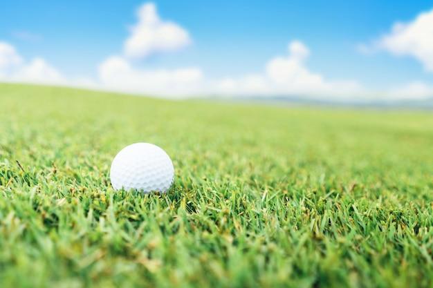 Bola de golfe na grama e no céu Foto Premium