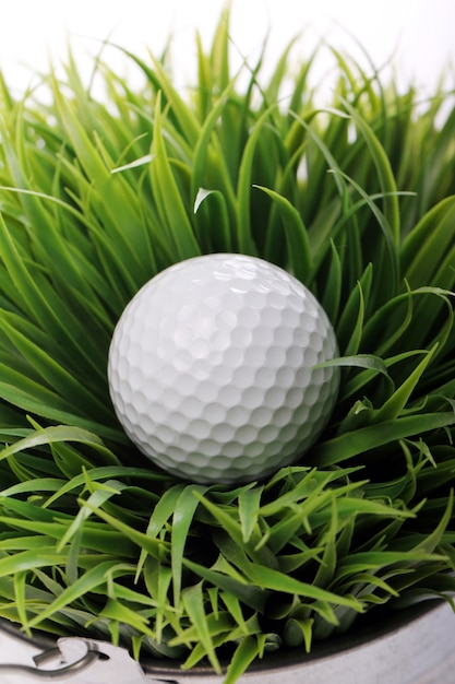 Bola de golfe na grama Foto gratuita