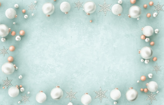 Bola de natal decoração moldura 3d fronteira natal, floco de neve sobre fundo azul. natal, inverno, ano novo. vista plana leiga, superior, copyspace. Foto Premium