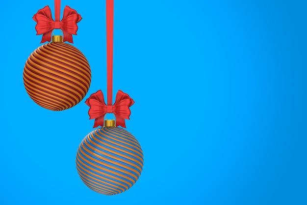 Bola de natal em fundo azul. ilustração 3d isolada Foto Premium