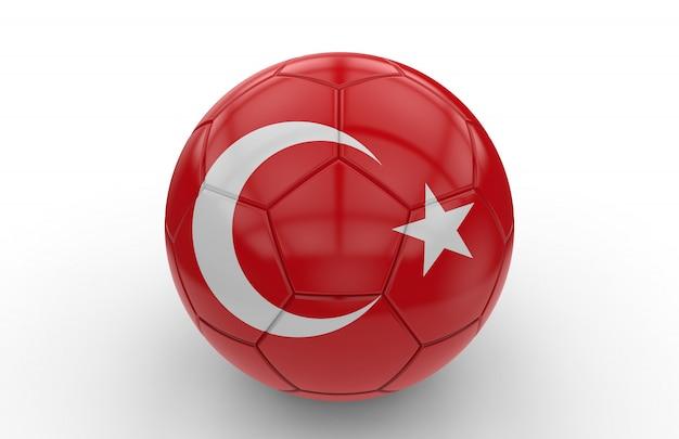 Bola futebol, com, bandeira turca Foto Premium
