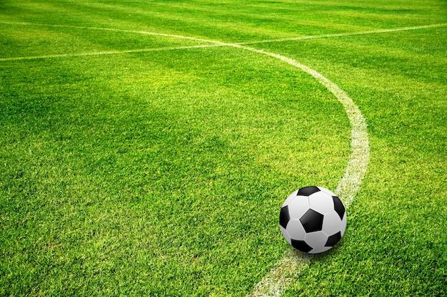 Bola, ligado, campo futebol Foto Premium