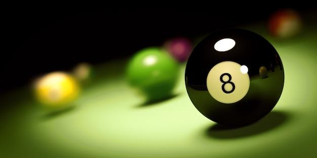 Bola n. 8 em uma mesa de bilhar render 3d Foto Premium