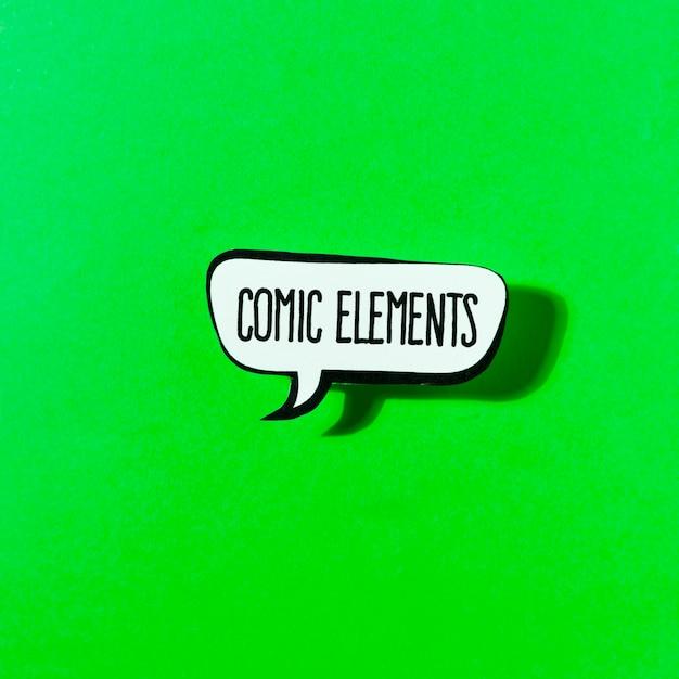 Bolha de discurso de elementos de quadrinhos sobre fundo verde Foto gratuita