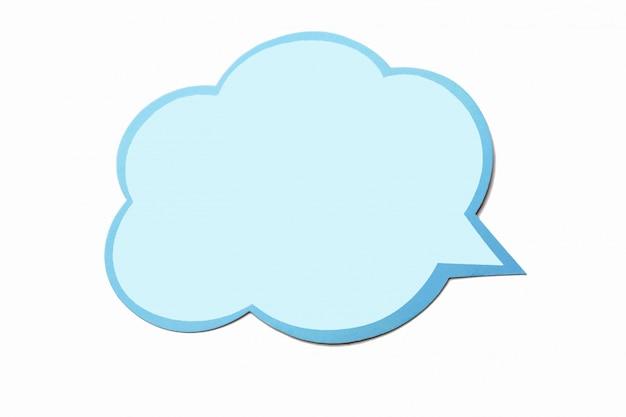 Bolha do discurso como uma nuvem com borda azul isolada no branco Foto Premium