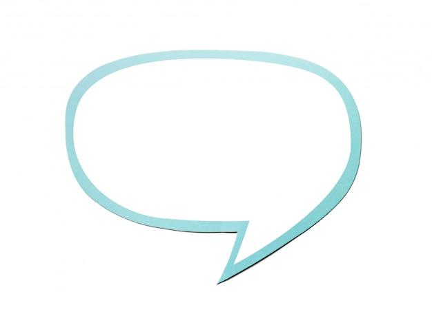 Bolha do discurso como uma nuvem com borda azul isolada no fundo branco. copie o espaço Foto Premium