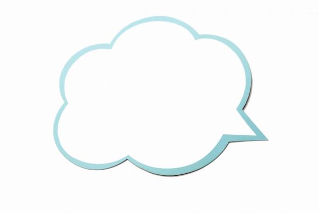 Bolha do discurso como uma nuvem com borda azul isolada Foto Premium