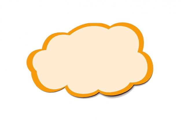 Bolha do discurso como uma nuvem com borda laranja isolada no branco Foto Premium